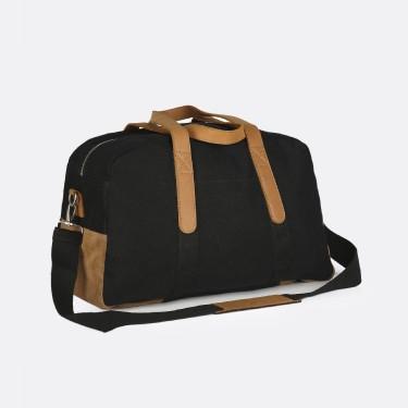 BLACK COTTON WEEKEND BAG