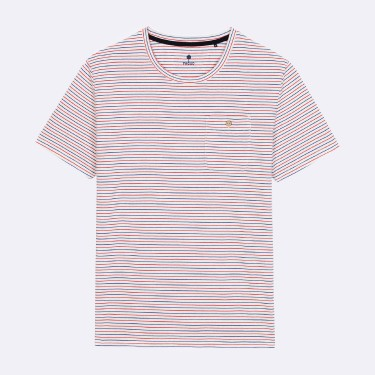 WHITE AND RED STRIPES COTTON TSHIRT