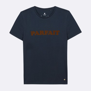 NAVY ROUND NECK T-SHIRT IN RECYCLED COTTON