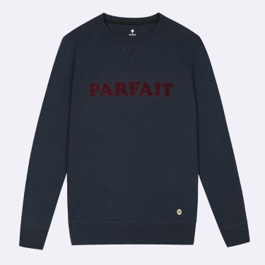 NAVY ROUND COLLAR SWEATER IN RECYCLED COTTON