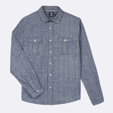 NAVY & ECRU SHIRT WITH POCKETS IN  COTTON