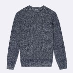 PULL COL ROND EN LAINE & POLYESTER RECYCLÉ NAVY & ECRU