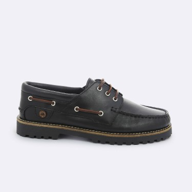 BLACK BOAT SHOES IN  LEATHER
