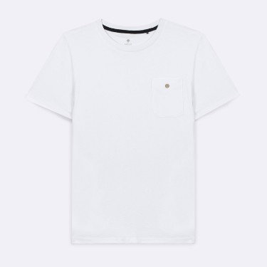 WHITE ROUND NECK T-SHIRT IN RECYCLED COTTON