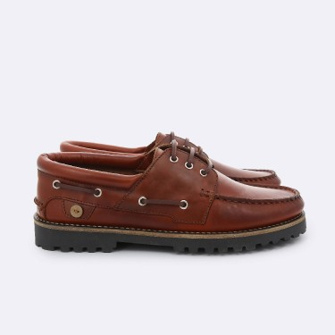 TAWNY BOAT SHOES IN  LEATHER