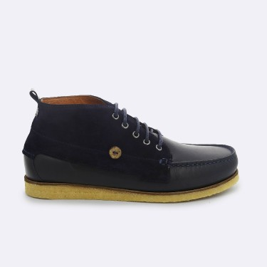 NAVY BOOTS IN  LEATHER & SUEDE