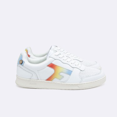 WHITE & BLUE SNEAKERS RECYCLED LEATHER