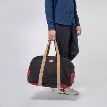 NAVY & RED COTTON WEEKEND BAG