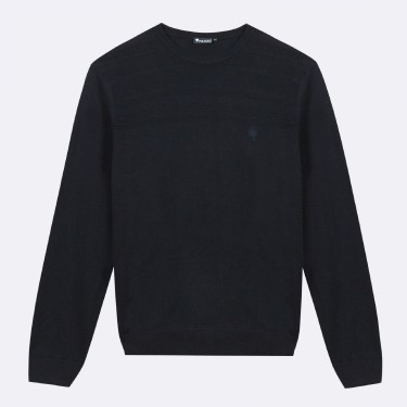 PULL COL ROND EN COTON RECYCLE MARINE
