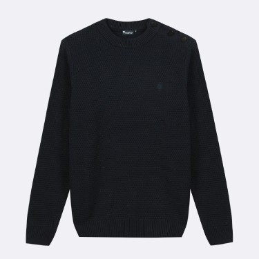 PULL COL BOUTONNE EN COTON RECYCLE MARINE