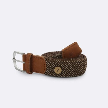 BROWN BEIGE BELT IN RECYCLED POLYESTER
