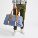 Steel blue travel bag in recycled cotton