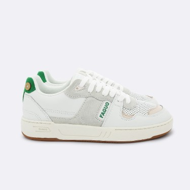 WHITE GREEN BASKETS IN RECYCLED LEATHER