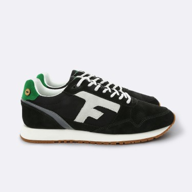 ANTHRACITE & GREEN RUNNINGS IN RECYCLED SUEDE