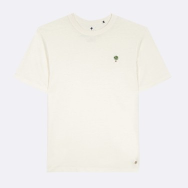 ECRU ROUND COLLAR T-SHIRT IN RECYCLED COTTON