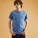 BLUE ROUND COLLAR T-SHIRT IN RECYCLED COTTON