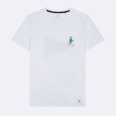WHITE ROUND COLLAR T-SHIRT IN RECYCLED COTTON