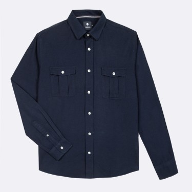 NAVY SHIRT WITH POCKETS IN RECYCLED COTTON