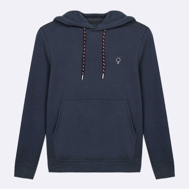 NAVY HOODIE IN RECYCLED COTTON