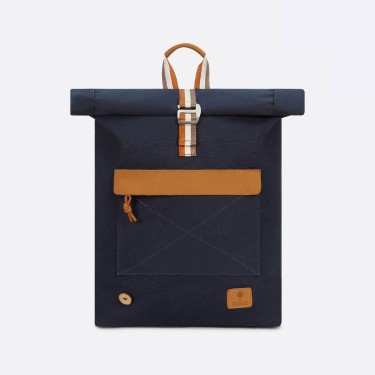 Navy & tawny cotton backpack