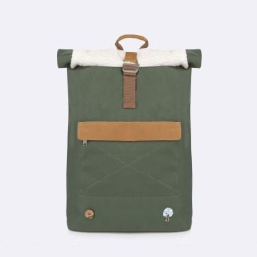 Kaki backpack in recycled polyester
