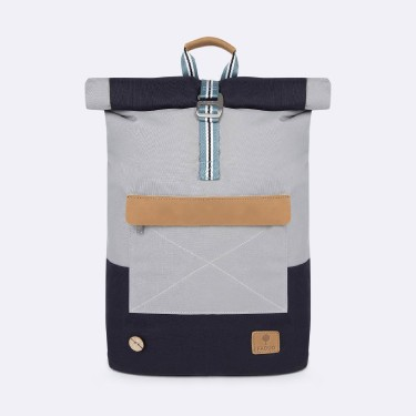 Grey & navy backpack in recycled polyester
