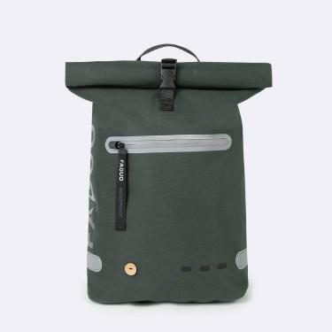 Dark green waterproof backpack in recycled polyester