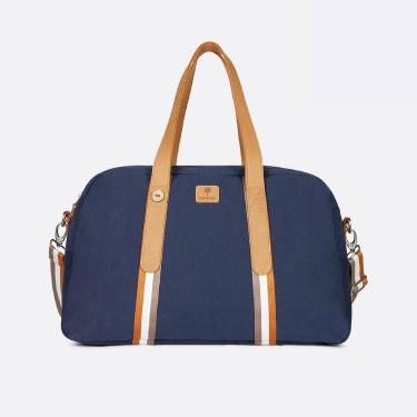 Navy & tawny cotton travel bag