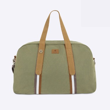 Kaki & tawny travel bag cotton
