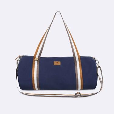 Navy & tawny sport bag cotton