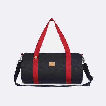 Navy & red cotton sport bag