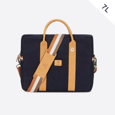 Navy & tawny cotton laptop bag