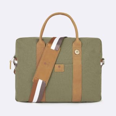 Kaki & tawny laptop bag cotton
