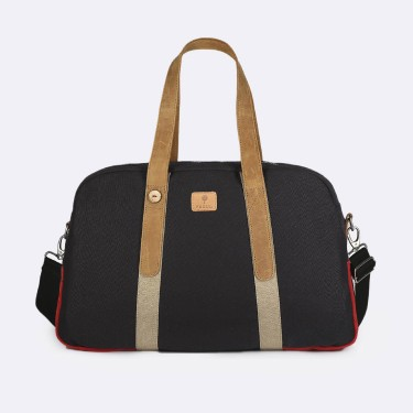 Navy & red cotton week-end bag